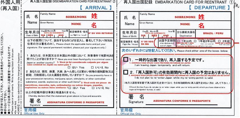 再入国出入国記録(見本)