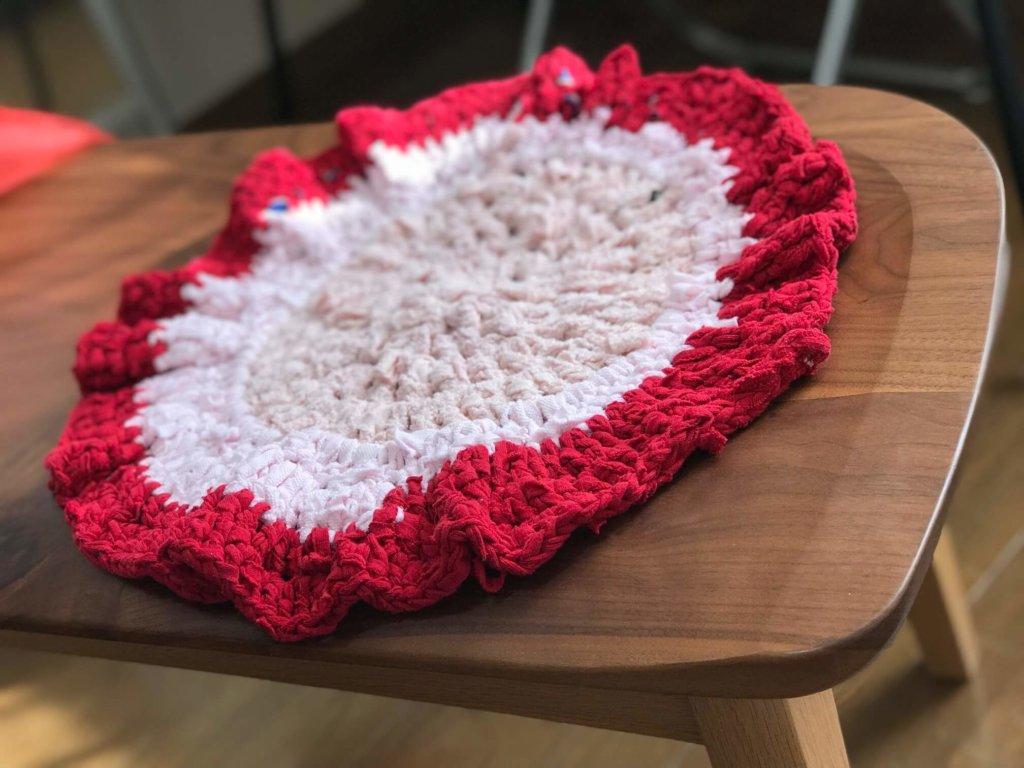 古着からリメイク裂き編み座布団つくってみた